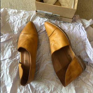Like new Free People leather Royale Flats canary